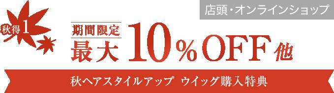秋得1 期間限定最大10%OFF 秋ヘアスタイルアップ ウイッグ購入特典